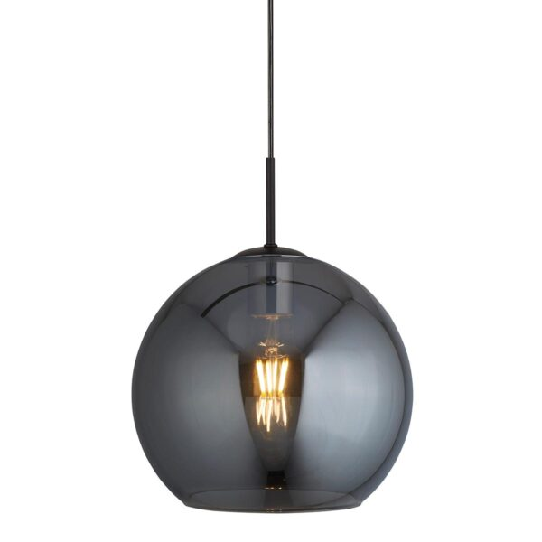 Modern Single 30cm Smoked Glass Globe Pendant Ceiling Light Black