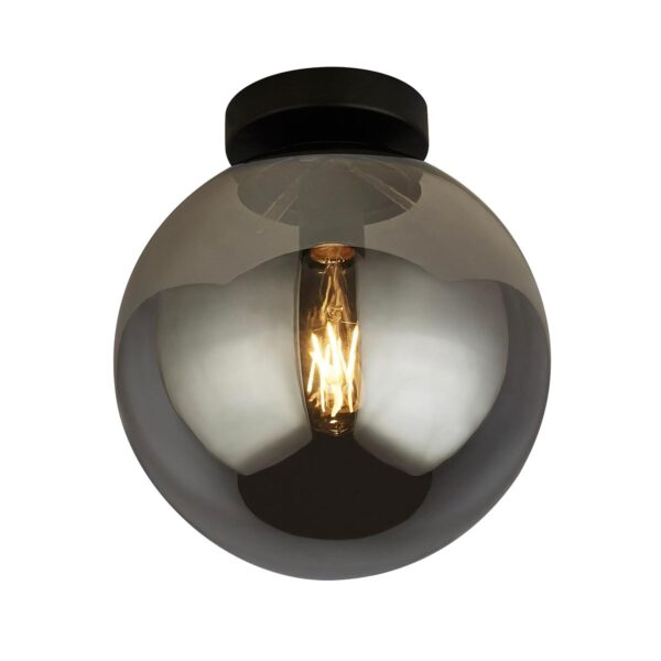 Modern Single Smoked Glass Globe Flush Low Ceiling Light Matt Black
