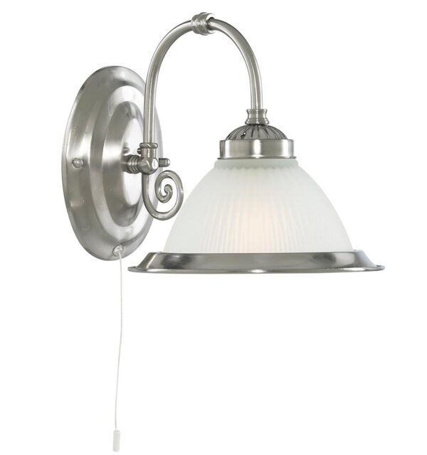 American Diner 1 Lamp Switched Wall Light Satin Silver Ribbed Glass
