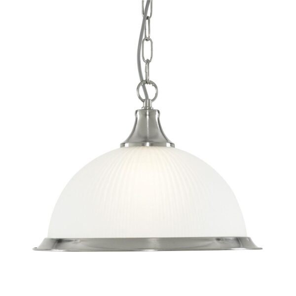 American Diner 1 Lamp Pendant Ceiling Light Satin Silver Ribbed Glass