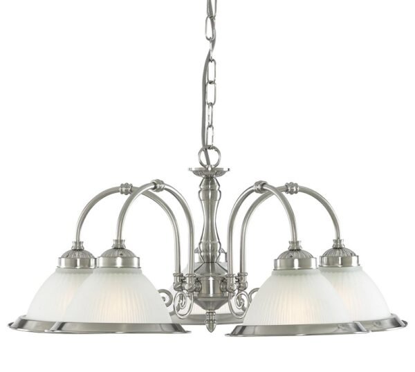 American Diner 5 Light Ceiling Pendant Satin Silver Ribbed Etched Glass