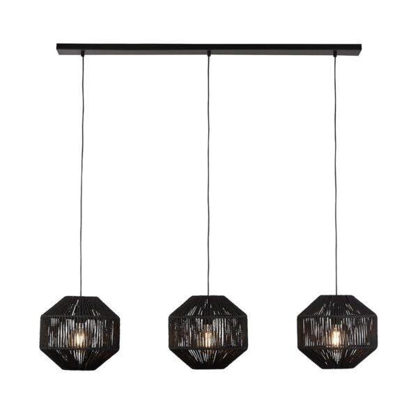 Trendy Black Wicker 3 Lamp Pendant Ceiling Light Bar Matt Black
