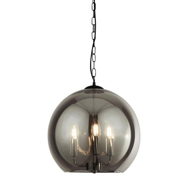 Modern 3 Light 35cm Smoked Glass Sphere Ceiling Pendant Matt Black