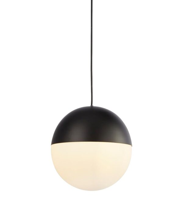 Modern Matt Black 1 Light Globe Ceiling Pendant Opal White Shade