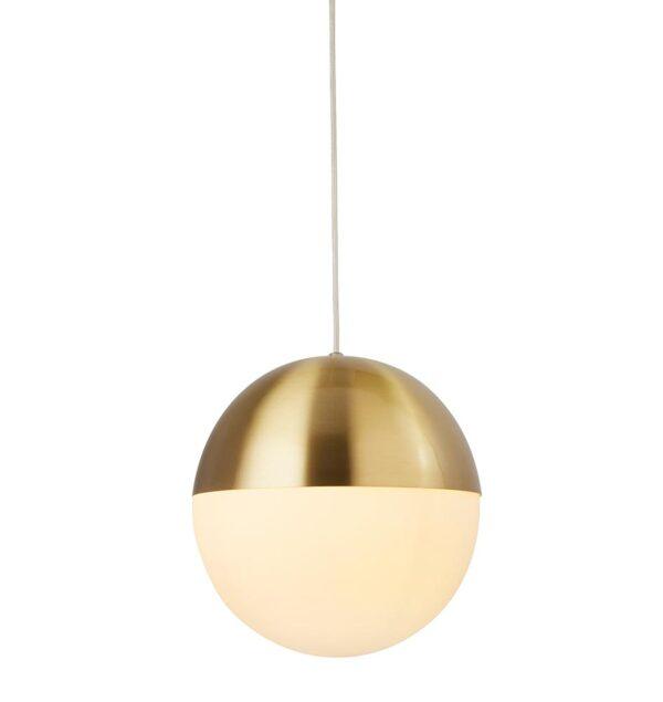 Modern Satin Brass 1 Light Globe Ceiling Pendant Opal White Shade