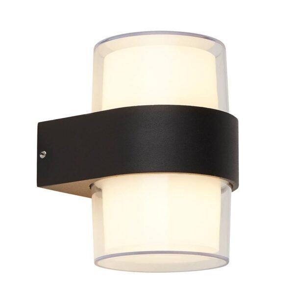 Compact LED Cylinder Outdoor Wall Light Matt Black Clear & Opal Shade