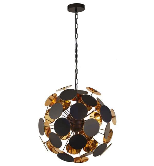 Discus Modern 4 Lamp Pendant Ceiling Light Matt Black & Gold