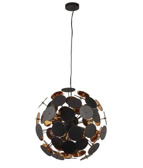 Discus Modern 6 Lamp Pendant Ceiling Light Matt Black & Gold