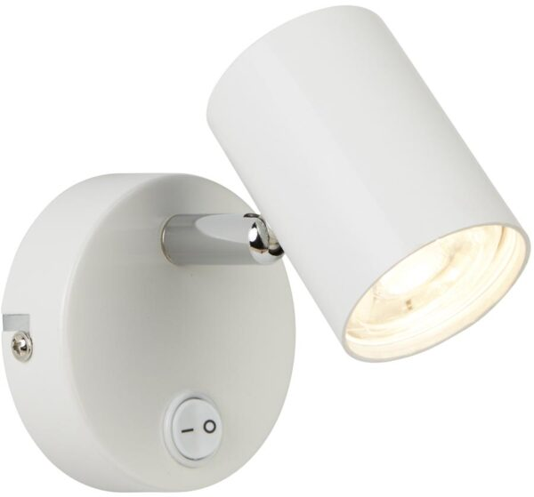 Rollo White Switched 1 Light LED Wall Mounted Spotlight Chrome Detail
