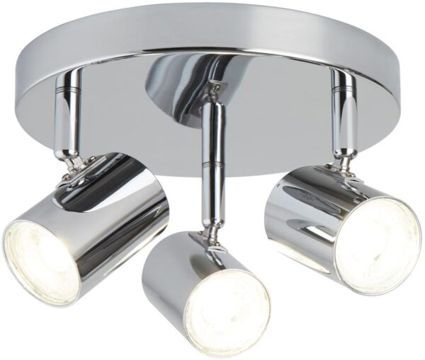 Rollo Polished Chrome 3 Light LED Ceiling Mounted Spotlight Plate