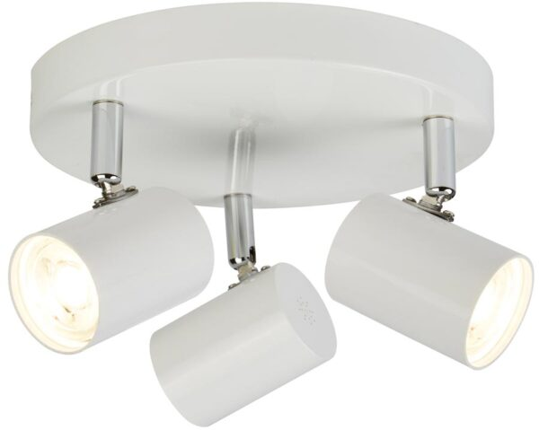 Rollo White 3 Light LED Ceiling Mounted Spotlight Plate Chrome Detail