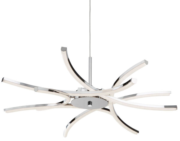 Bardot 6 Light LED Pendant Ceiling Light Polished Chrome Curved Arms
