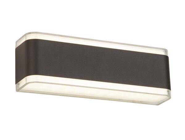 Modern LED Rectangular Outside Wall Up & Down Light Dark Grey IP44
