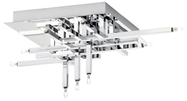Lattice Modern Polished Chrome 11 Light Flush Ceiling Fitting