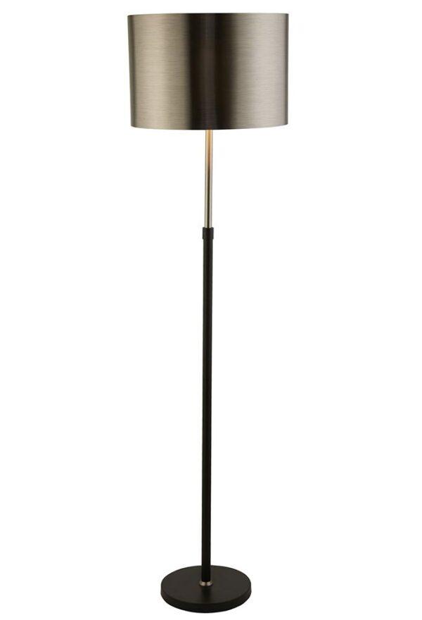 Modern Matt Black & Chrome 1 Light Floor Lamp Black Chrome Shade