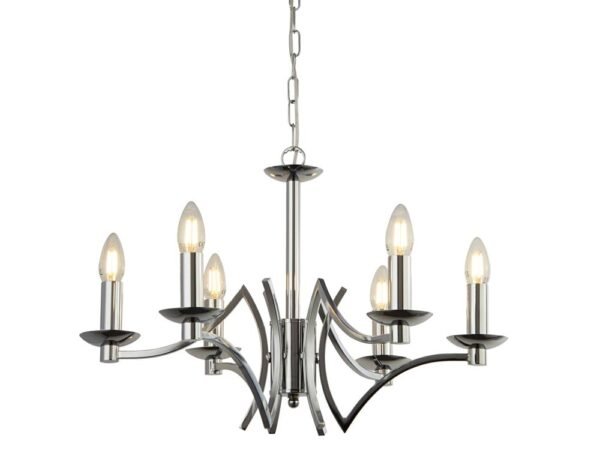 Ascot Geometric 6 Arm Chandelier Ceiling Light In Polished Chrome