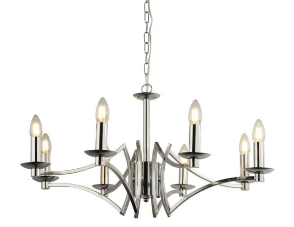 Ascot Geometric 8 Arm Chandelier Ceiling Light In Polished Chrome