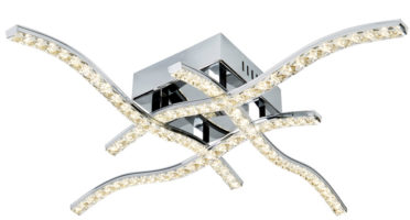 Anson 4 Arm Flush Mount LED Ceiling Light Polished Chrome Glass