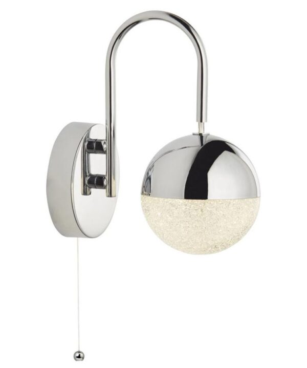 Marbles 1 Lamp Switched LED Globe Wall Light Chrome Crushed Ice