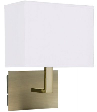 Switched Wall Light Antique Brass Rectangular White Fabric Shade