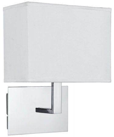 Switched Wall Light Polished Chrome Rectangular White Fabric Shade