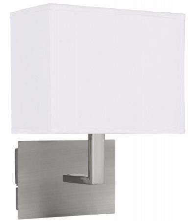 Switched Wall Light Satin Silver Rectangular White Fabric Shade