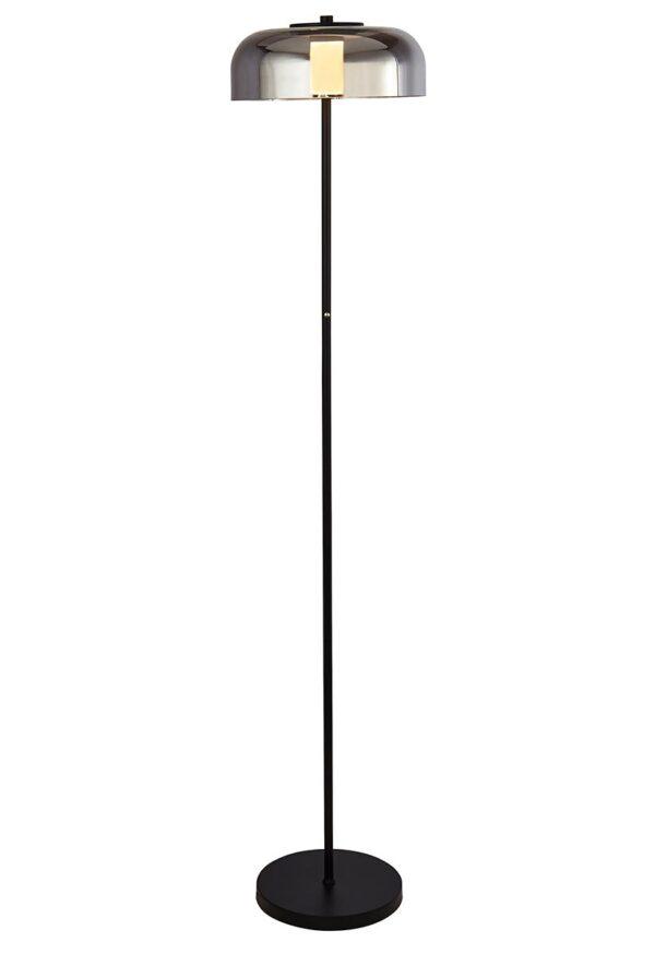 Modern 1 Light Dimming LED Floor Lamp Matt Black Smoked Glass
