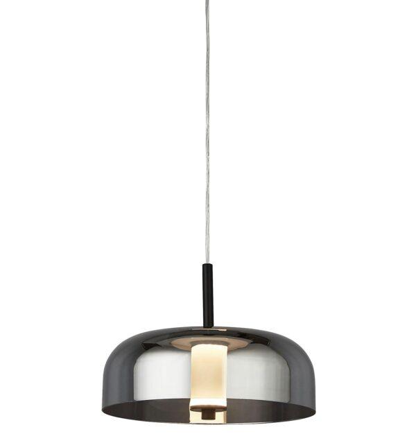 Modern 1 Light Dimming LED Ceiling Pendant Matt Black Smoked Glass