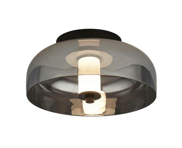 Modern Dimming LED Flush Low ceiling Light Matt Black Smoked Glass