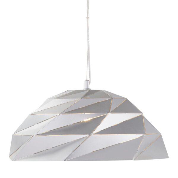 Origami Angular 1 Light Geometric Dome Ceiling Pendant Metallic Silver