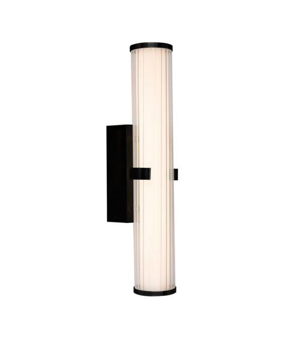 Clamp 1 Lamp 18w LED Bathroom Wall Tube Light Matt Black IP44