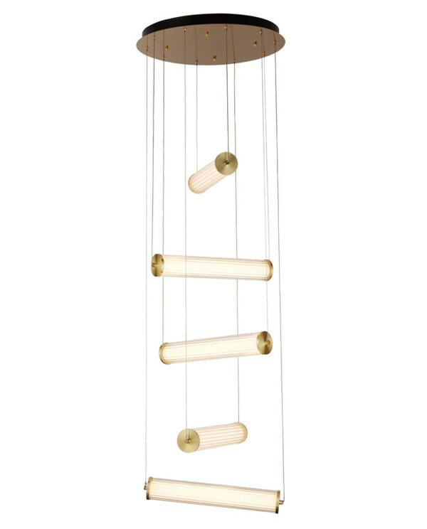 Clamp Stairwell 5 Lamp LED Ceiling Pendant Satin Gold Glass Shades