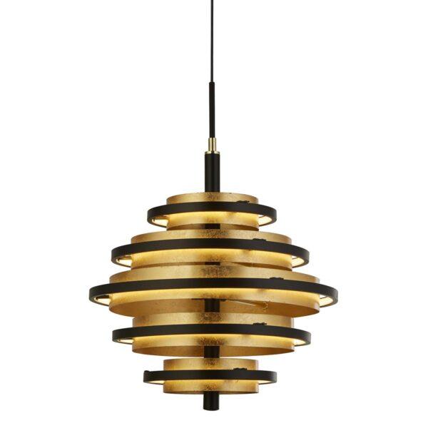 Hive Modern 5 Light Dimming LED Ceiling Pendant Black & Gold Leaf