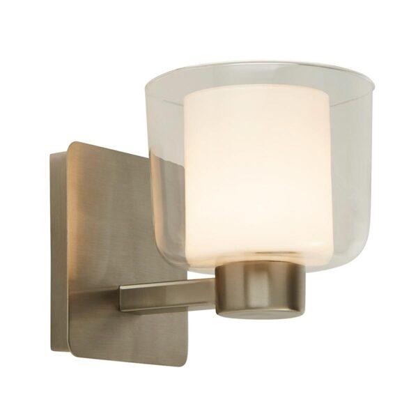 Bathroom Single Wall Light Satin Nickel Clear Glass Shade White Inner