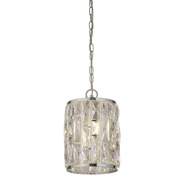 Bijou 1 Lamp Sparkling Crystal Pendant Ceiling Light Polished Chrome