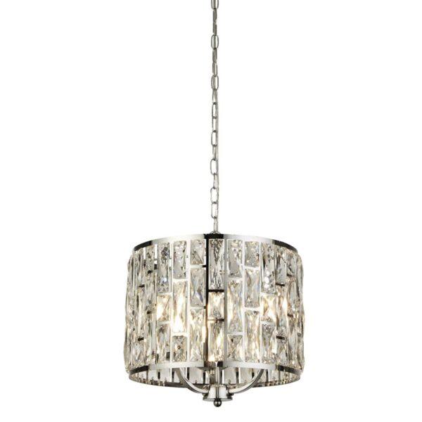 Bijou 3 Lamp Sparkling Crystal Pendant Ceiling Light Polished Chrome