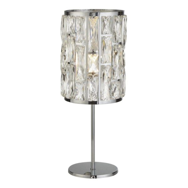 Bijou Classic 1 Light Sparkling Crystal Table Lamp Polished Chrome