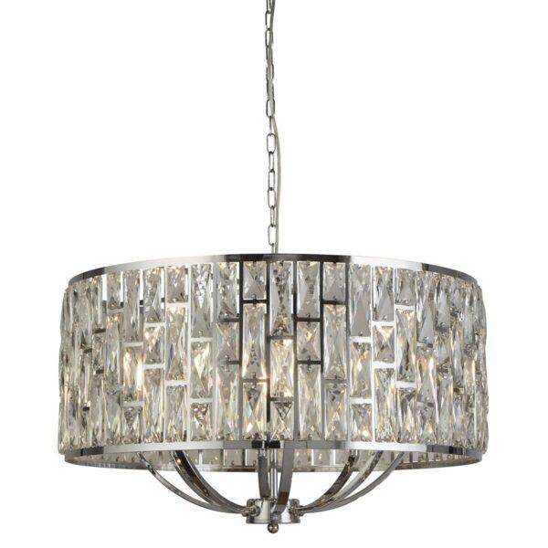 Bijou 8 Lamp Sparkling Crystal Pendant Ceiling Light Polished Chrome