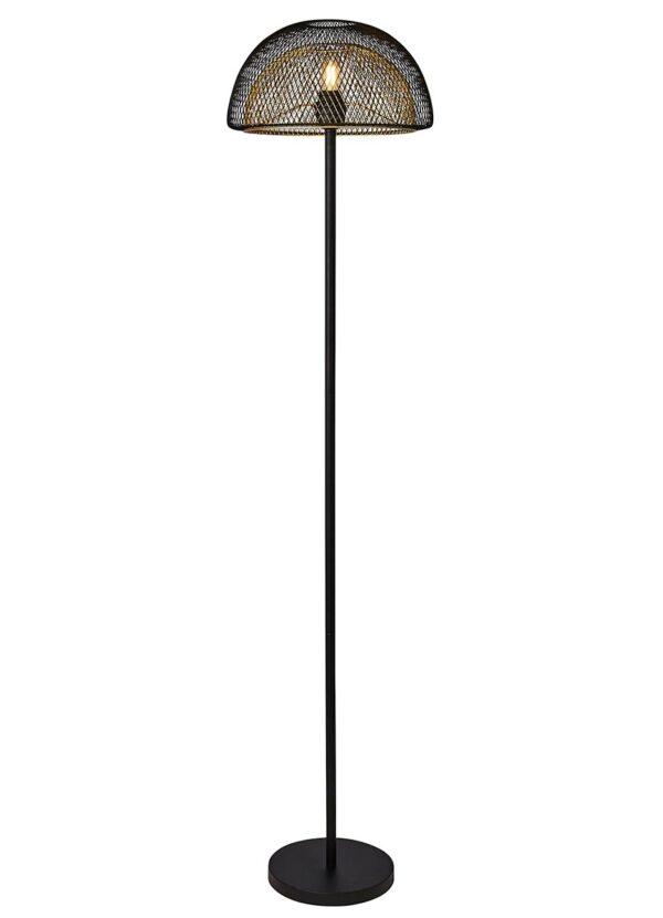 Honeycomb 1 Light Dual Mesh Domed Shade Floor Lamp Black & Gold