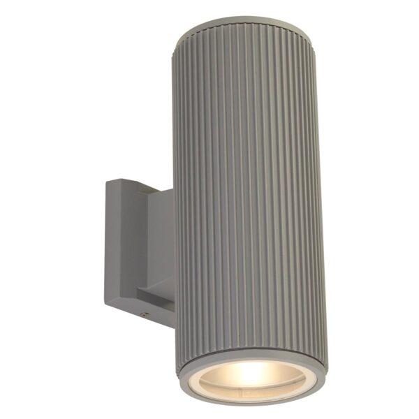 Modern 2 Lamp Outdoor Wall Up & Down Spot Light Matt Grey IP54
