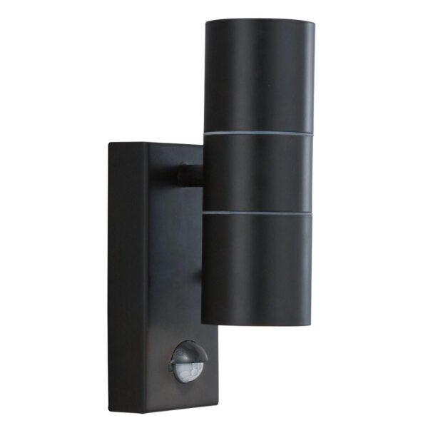 Modern Stainless Steel Outdoor PIR Up & Down Wall Spot Light Black