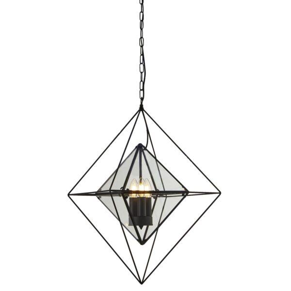 Diamond 3 Light Art Deco Style Ceiling Pendant Matt Black Clear Glass