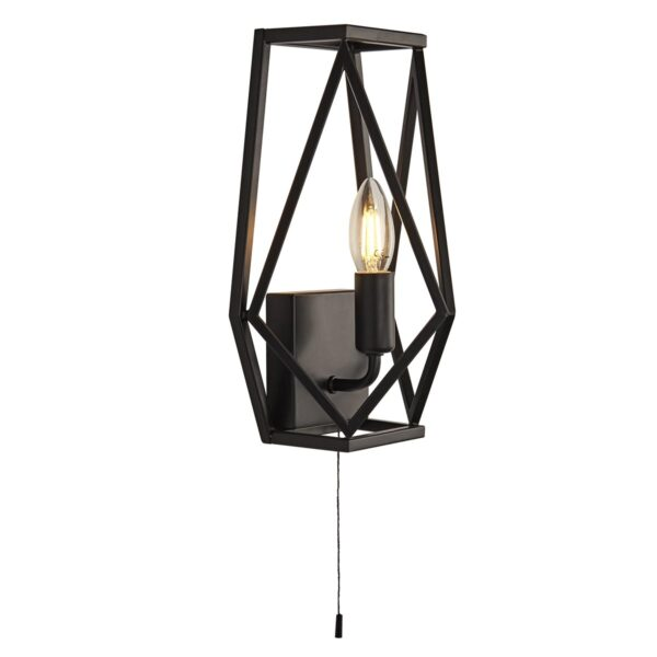 Chassis Geometric 1 Lamp Switched Open Cage Wall Light Matt Black