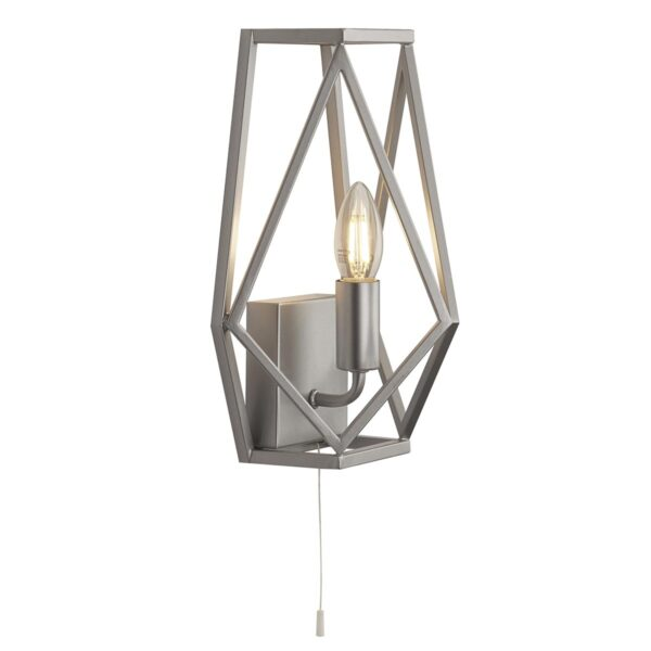 Chassis Geometric 1 Lamp Switched Open Cage Wall Light Satin Silver