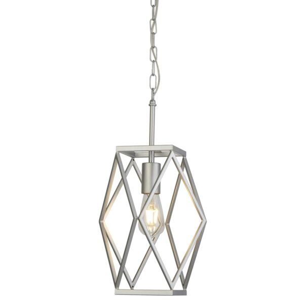 Chassis Geometric 1 Lamp Open Cage Pendant Ceiling Light Satin Silver