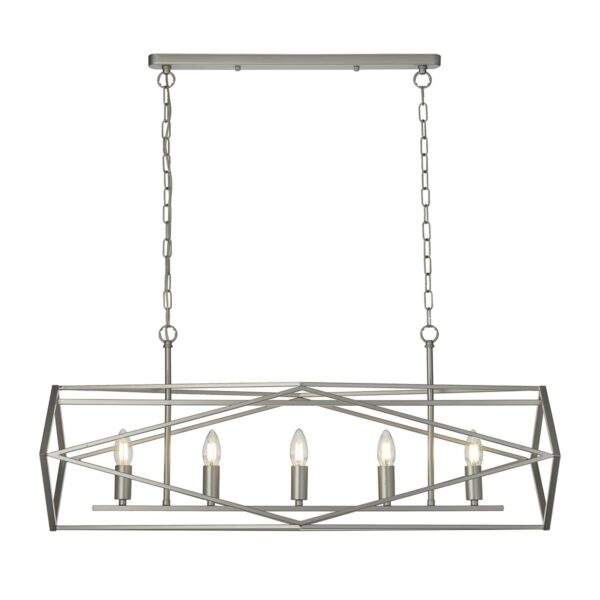 Chassis Geometric 5 Light Open Cage Ceiling Pendant Bar Satin Silver