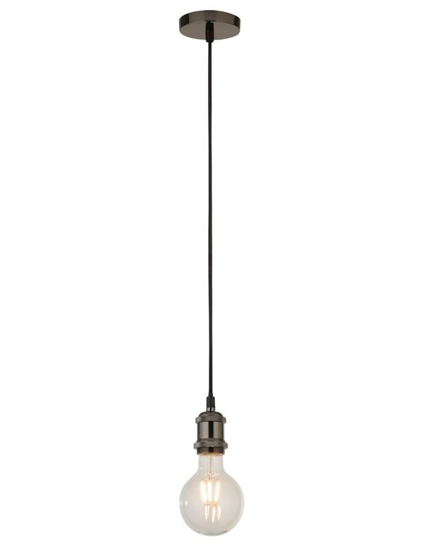 Ceiling Pendant Cable Set For E27 Bulb With Shade Ring Black Chrome