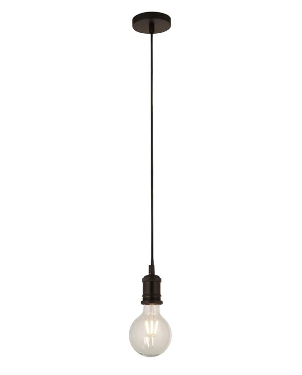 Ceiling Pendant Cable Set For E27 Bulb With Shade Ring Matt Black