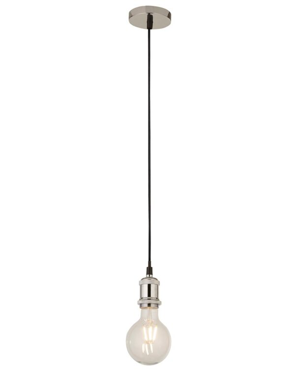 Ceiling Pendant Cable Set For E27 Bulb With Shade Ring In Chrome