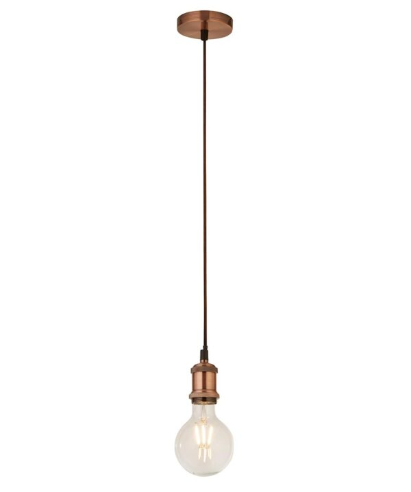 Ceiling Pendant Cable Set For E27 Bulb With Shade Ring Antique Copper